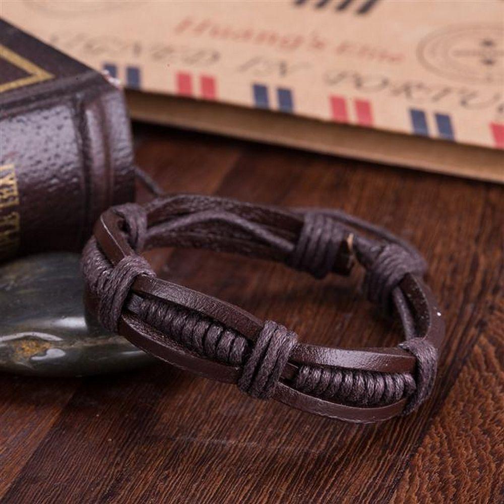 Lau-Fashion Armband Unisex Echt Leder Braun Geflochten Indianer Schmuck 19cm