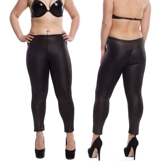 schwarze damen wetlook stretch leggings glanz lack leder. Black Bedroom Furniture Sets. Home Design Ideas