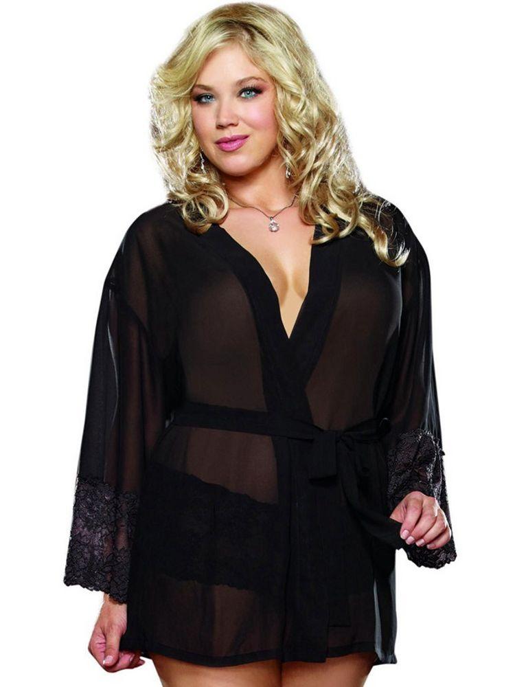 another chance 38786 649cd Damen Pyjama Set Transparent Nachthemd Nachtwäsche Schwarz mit Spitze Panty  L/XL | eBay