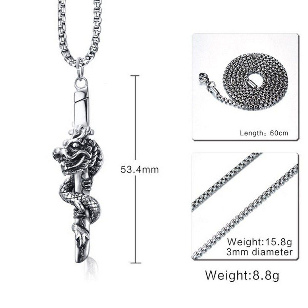 Lau Fashion Edelstahl Halskette Japan Schwert Drachen Anhänger Massive Ø 54mm   eBay
