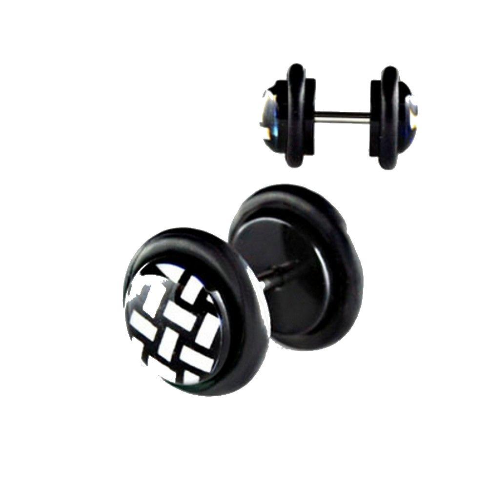 2 st ck fake plug ohrstecker acryl netz dick ohrring tunnel schwarz 10mm ebay. Black Bedroom Furniture Sets. Home Design Ideas