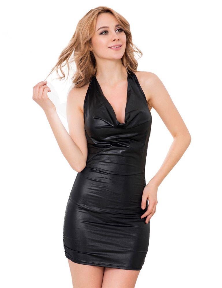 fashion damen wetlook gogo dessous schwarz streifen mini kleid reizw sche s m ebay. Black Bedroom Furniture Sets. Home Design Ideas