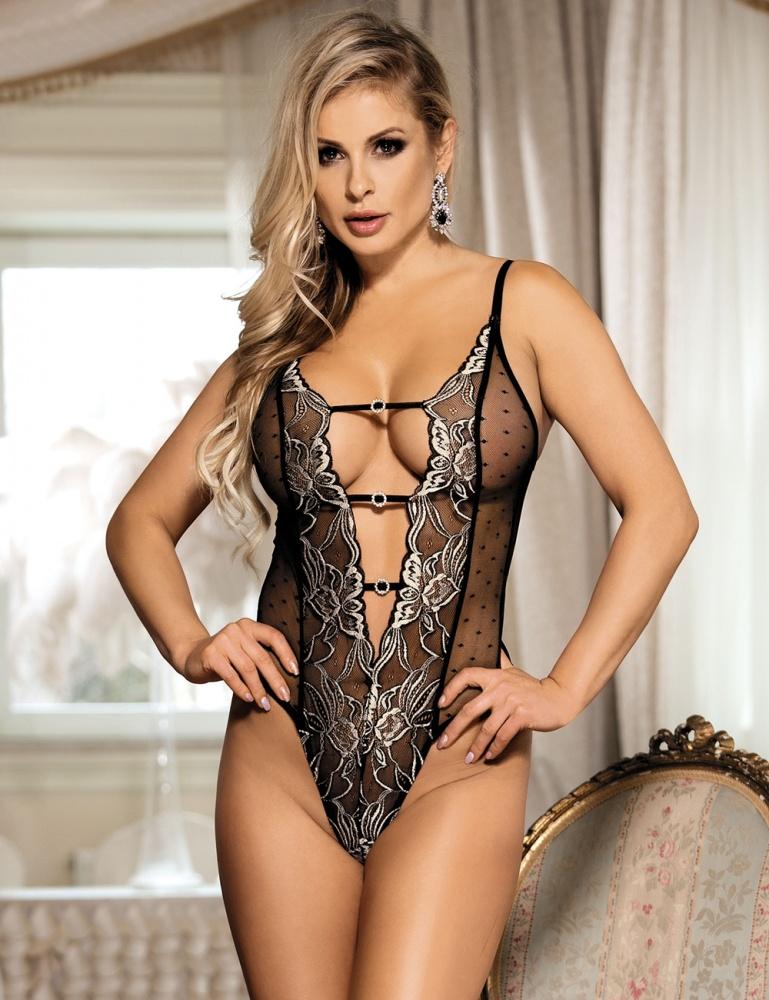 Damen Wetlook Body Dessous PVC Offen Transparent Diva Nachtwäsche S//XL