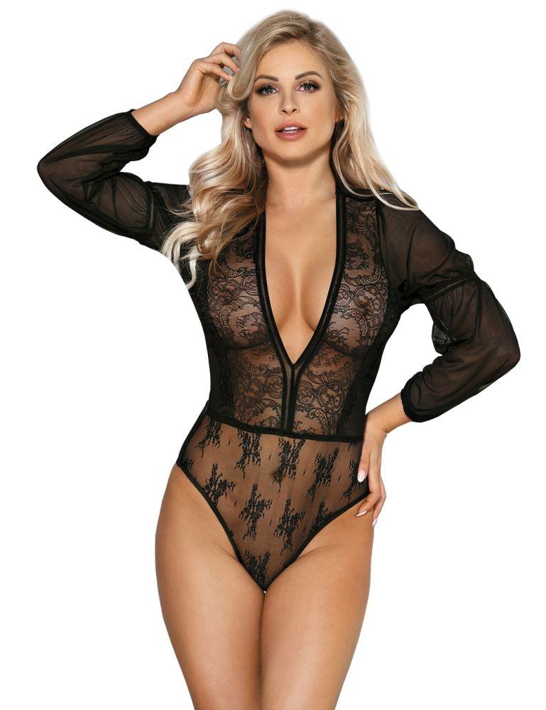 Lau-Fashion Damen Body mit Transparent Stoff Schwarz Rundhals Langarm S//M